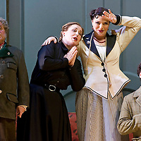 Picture shows :Kate Val entine (white dress) as Karolina and Jane Irwin (black dress) as Ane?ka. David Pomeroy (right) as Ladislav Podhajsky(left) Nicholas Folwell as Mumlal..Picture  ©  Drew Farrell Tel : 07721 ?735041.THE TWO WIDOWS by  Smetana.A SCOTTISH OPERA AND EDINBURGH INTERNATIONAL FESTIVAL CO-PRODUCTION.Premiering at the Edinburgh International Festival, this brand new production stars Scottish soprano Kate Valentine and internationally renowned mezzo Jane Irwin..The directorial partnership between Tobias Hoheisel and Imogen Kogge transforms this delicate comedy into something that digs deeper without losing its inherent charm. Francesco Corti conducts this, his first production as Music Director of Scottish Opera...Kate Valentine as Karolina Záleská.Jane Irwin as Ane?ka Miletinská?Nicholas Folwell as Mumlal?David Pomeroy as Ladislav Podhajsky?Ben Johnson as Toník, a peasant?Rebecca Ryan as Lidka, a maid.?Conductor..Francesco Corti.Directors ..         Tobias Hoheisel & Imogen Kogge.Designer..         Tobias Hoheisel.Lighting..         Peter Mumford.Choreographer  .Kally Lloyd-Jones.Dramaturg..Micaela von Marcard..Performances :.Edinburgh Festival Theatre?9 ? 11 ? 12  August?Theatre Royal, Glasgow?10 ?  14 ? 17 ? October?Note to Editors:  This image is free to be used editorially in the promotion of Scottish Opera and The Edinburgh International Festival. Without prejudice ALL other licences without prior consent will be deemed a breach of copyright under the 1988. Copyright Design and Patents Act  and will be subject to payment or legal action, where appropriate..Further further information please contact Kerryn Hurley Scottish Opera Press Manager t:   0141 242 0511. Or contact The Edinburgh International Festival Press Office  +44 (0)131 473 2020.