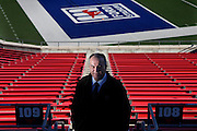 Football Coach June Jones photographed in Ford Stadium at Southern Methodist University in Dallas, TX.