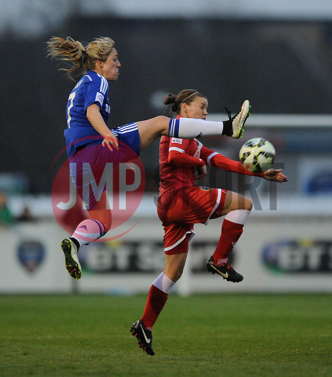 Bristol Academy Womens' Loren Dykes challenges for the ariel ball with Gemma Davison of Chelsea Ladies - Photo mandatory by-line: Dougie Allward/JMP - Mobile: 07966 386802 - 02/04/2015 - SPORT - Football - Bristol - SGS Wise Campus - BAWFC v Chelsea Ladies - Womens Super League