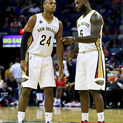 Oct 4, 2016; New Orleans, LA, USA;  New Orleans Pelicans guard Buddy Hield (24) talks with guard Lance Stephenson (5) during the second half of a game against the Indiana Pacers at the Smoothie King Center. The Pacers defeated the Pelicans 113-96. Mandatory Credit: Derick E. Hingle-USA TODAY Sports