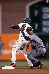 SAN FRANCISCO, CA - APRIL 18:  Denard Span #2 of the San Francisco Giants is tagged out attempting to steal second base by Jean Segura #2 of the Arizona Diamondbacks during the first inning at AT&T Park on April 18, 2016 in San Francisco, California.  (Photo by Jason O. Watson/Getty Images) *** Local Caption *** Denard Span; Jean Segura