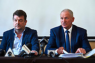 Warsaw, Poland - 2017 March 14: (L) Piotr Robert Radwanski and (R) Miroslaw Skrzypczynski Board Member at Polish Tennis Federation attend in Press Conference at Centrum Konferencyjne Wilcza 9 on March 14, 2017 in Warsaw, Poland.<br /> <br /> Mandatory credit:<br /> Photo by © Adam Nurkiewicz / Mediasport<br /> <br /> Adam Nurkiewicz declares that he has no rights to the image of people at the photographs of his authorship.<br /> <br /> Picture also available in RAW (NEF) or TIFF format on special request.<br /> <br /> Any editorial, commercial or promotional use requires written permission from the author of image.<br /> <br /> Image can be used in the press when the method of use and the signature does not hurt people on the picture.