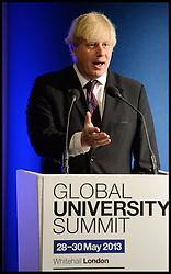 The London Mayor Boris Johnson gives a speech at the Global University Summit, The Royal Horseguards, London, Wednesday, 29th May 2013.Picture by Andrew Parsons / i-Images