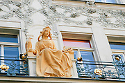 Czech Republic, Prague, Art Nouveau statue of a female figure on facade of building on Karlova street