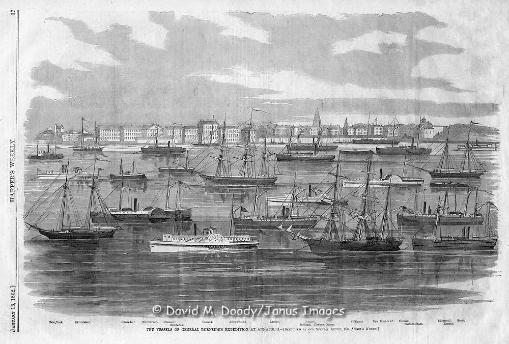 The vessels of Burnside's expedition at Annapolis, Maryland. Civl War.