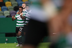 September 20, 2018 - Lisbon, Portugal - Sporting's forward Jovane Cabral from Cabo Verde (L ) celebrates with teammates after scoring during the UEFA Europa League Group E football match Sporting CP vs Qarabag at Alvalade stadium in Lisbon, on September 20, 2018. (Credit Image: © Pedro Fiuza/NurPhoto/ZUMA Press)
