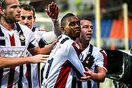Onderwerp/Subject: Willem II - Eredivisie<br /> Reklame:  <br /> Club/Team/Country: <br /> Seizoen/Season: 2012/2013<br /> FOTO/PHOTO: Virgil MISIDJAN (C) of Willem II celebrating his penalty goal with Niek VOSSEBELT (L) of Willem II and Aurelien JOACHIM (BEHIND) of Willem II and Nicky HOFS ( Nick HOFS ) (R) of Willem II ( 1 - 1 ). (Photo by PICS UNITED)<br /> <br /> Trefwoorden/Keywords: <br /> #02 #17 $94 &plusmn;1354627667242<br /> Photo- &amp; Copyrights &copy; PICS UNITED <br /> P.O. Box 7164 - 5605 BE  EINDHOVEN (THE NETHERLANDS) <br /> Phone +31 (0)40 296 28 00 <br /> Fax +31 (0) 40 248 47 43 <br /> http://www.pics-united.com <br /> e-mail : sales@pics-united.com (If you would like to raise any issues regarding any aspects of products / service of PICS UNITED) or <br /> e-mail : sales@pics-united.com   <br /> <br /> ATTENTIE: <br /> Publicatie ook bij aanbieding door derden is slechts toegestaan na verkregen toestemming van Pics United. <br /> VOLLEDIGE NAAMSVERMELDING IS VERPLICHT! (&copy; PICS UNITED/Naam Fotograaf, zie veld 4 van de bestandsinfo 'credits') <br /> ATTENTION:  <br /> &copy; Pics United. Reproduction/publication of this photo by any parties is only permitted after authorisation is sought and obtained from  PICS UNITED- THE NETHERLANDS