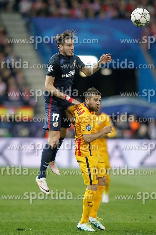 13.04.2016, Estadio Vicente Calderon, Madrid, ESP, UEFA CL, Atletico Madrid vs FC Barcelona, Viertelfinale, Rueckspiel, im Bild Atletico de Madrid's Saul Niguez (l) and FC Barcelona's Jordi Alba // during the UEFA Champions League Quaterfinal, 2nd Leg match between Atletico Madrid and FC Barcelona at the Estadio Vicente Calderon in Madrid, Spain on 2016/04/13. EXPA Pictures &copy; 2016, PhotoCredit: EXPA/ Alterphotos/ Acero<br /> <br /> *****ATTENTION - OUT of ESP, SUI*****