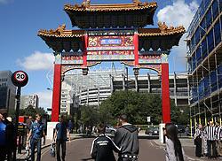 13 August 2017  : Premier League Football : Newcastle United v Tottenham Hotspur: fans approach St James Park through the Chinatown gate: Photo: Mark Leech