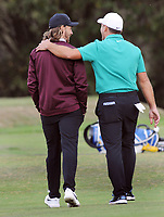 Golf - 2018 Sky Sports British Masters - Thursday, First Round<br /> <br /> Francesco Molinari of Italy arm in arm with Tommy Fleetwood of England, at Walton Heath Golf Club.<br /> <br /> COLORSPORT/ANDREW COWIE