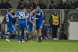 April 8, 2018 - Milan, Milan, Italy - 8th April 2018, San Siro, Milan, Italy; Serie A football, AC Milan versus US Sassuolo; Federico Peluso of US Sassuolo celbrate the first goal (Credit Image: © Gaetano Piazzolla/Pacific Press via ZUMA Wire)