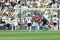 May 27, 2019 - London, England, United Kingdom - Anwar El Ghazi (22) of Aston Villa scores a goal to make it 1-0 during the Sky Bet Championship Play Off Final between Aston Villa and Derby County at Wembley Stadium, London on Monday 27th May 2019. (Credit Image: © Mi News/NurPhoto via ZUMA Press)