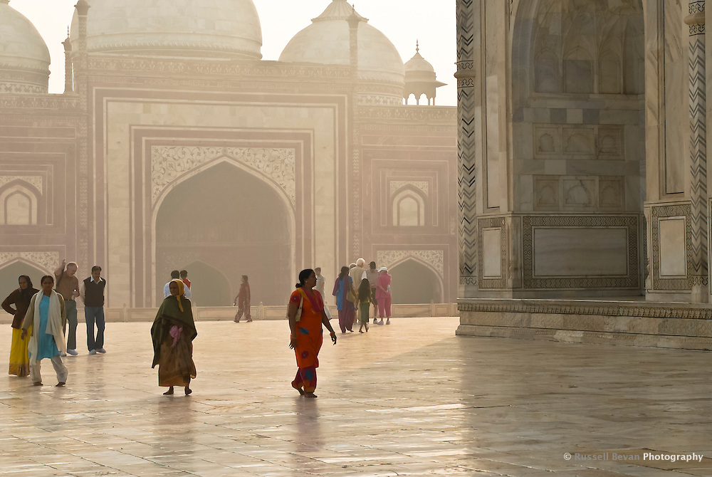 Morning visitors at the Taj Mahal in Agra, Uttar Pradesh, India