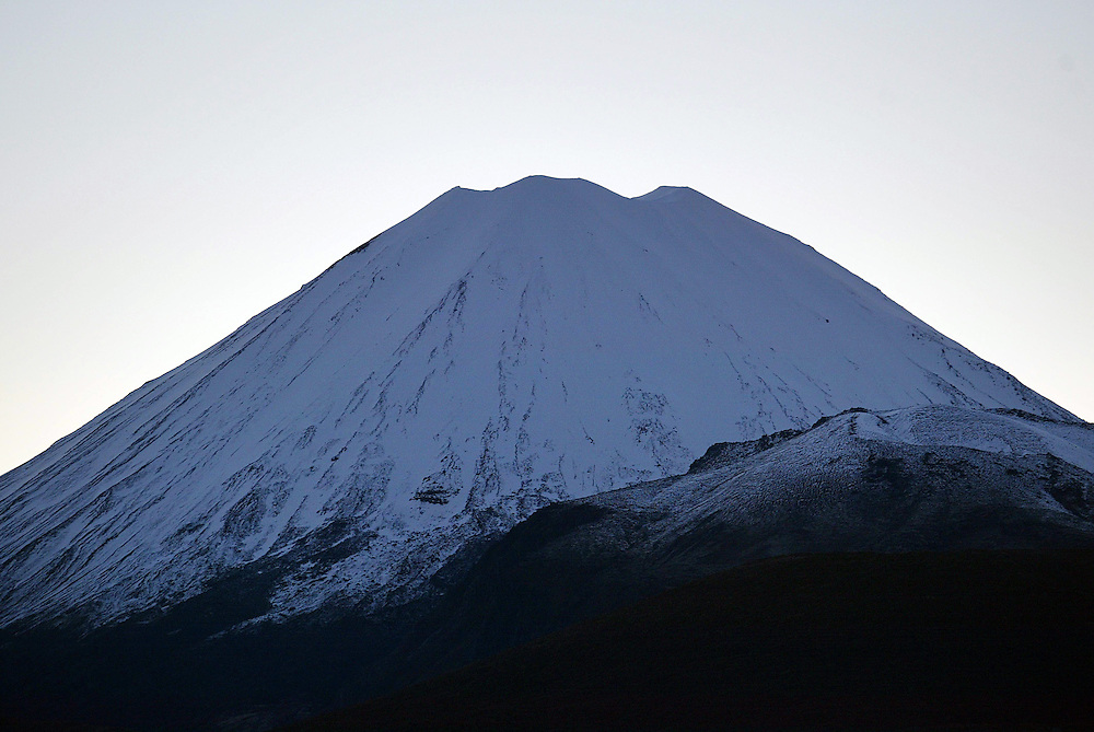 The summit of Mt Ngauruhoe with a light covering of snow, North Island, New Zealand, October 26, 2004. Credit:SNPA / Rob Tucker