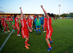 NEWPORT, WALES - Tuesday, June 12, 2018: Wales' Jessica Fishlock (left) and Natasha Harding (right) celebrate at the final whistle after beating Russia 3-0 during the FIFA Women's World Cup 2019 Qualifying Round Group 1 match between Wales and Russia at Newport Stadium. (Pic by David Rawcliffe/Propaganda)
