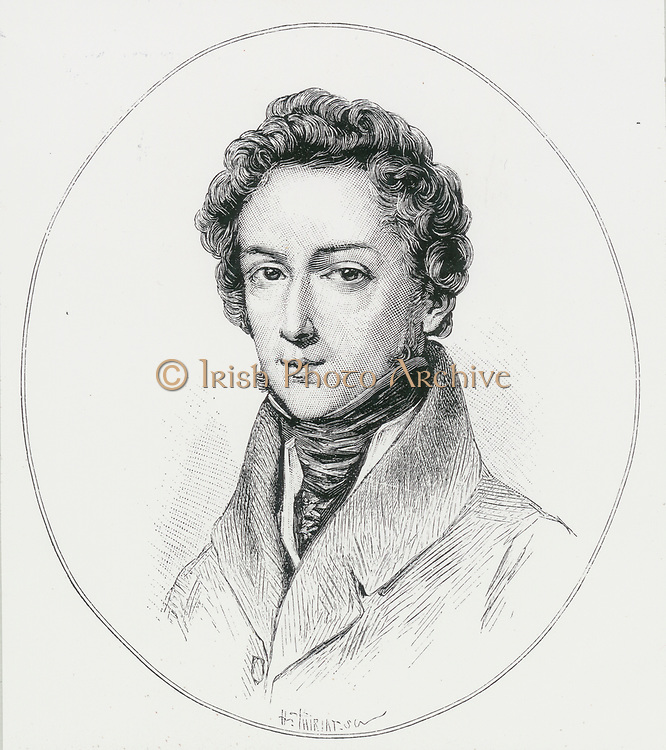 Frederic Chopin (1809-1849) Polish composer and pianist who joined other emigrees in Paris in 1831. He took French citizenship in 1835.  Engraving.