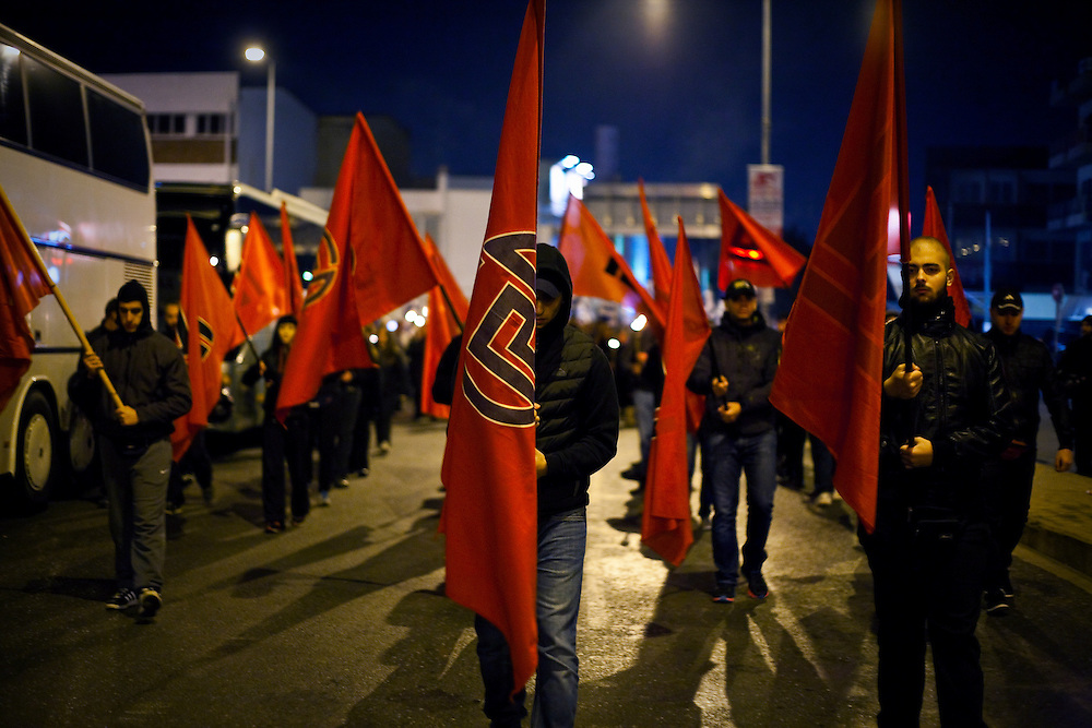 Greece, Athens, November 1st, 2014 - Extreme-right Golden Dawn members gathered outside the party's offices in New Irakleio, Athens, in order to hold a memorial for the murder of Giorgos Foudoulis and Manos Kapelonis, two party members who were killed in a drive-by shooting one year before.