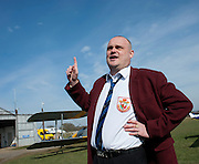 Al Murray - The Pub landlord on the campaign trail fails to get parachuted in after being deemed overweight for a tandem jump at Headcorn, nr Maidstone, Kent, 13th March 2015.