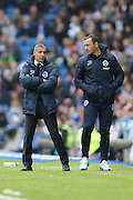Brighton Manager, Chris Hughton and Brighton Assistant Manager, Colin Calderwood during the Sky Bet Championship match between Brighton and Hove Albion and Derby County at the American Express Community Stadium, Brighton and Hove, England on 2 May 2016.