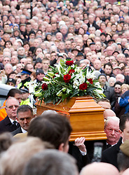 © under license to London News Pictures. 26/1/2011. The coffin  arriving at the funeral of Bolton Wonderers and England star, Nat Lofthouse at Bolton Parish Church today (26/01/2011) Nat died at the age of 85. Photo credit should read:Joel Goodman/LNP
