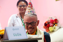 April 28, 2017 - Kathmandu, Nepal - Liang Sheng Yueh,Taiwanese trekker,who was rescued from Himalayas 47 days after going missing, gestures as he celebrates 21st birthday at Grande International Hospital in Kathmandu, Nepal. A rescue team found Liang alive while his girlfriend Liu Chen-chun dead after missing 47 days while trekking in Himalayas. (Credit Image: © Sunil Sharma via ZUMA Wire)