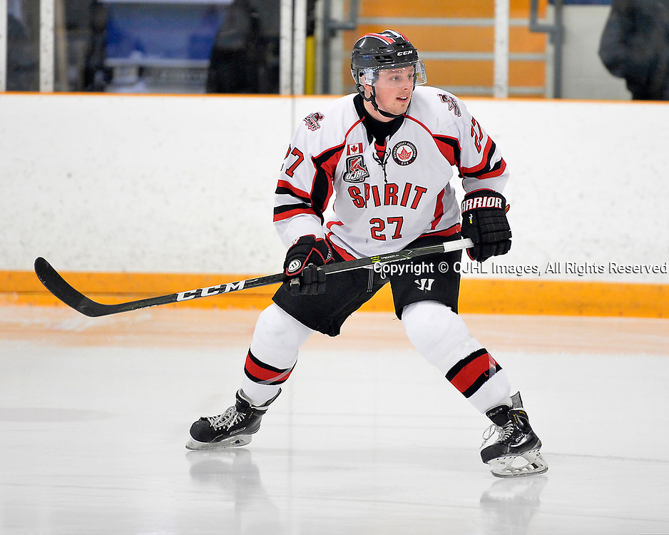 STOUFFVILLE, ON  - MAR 19,  2017: Ontario Junior Hockey League, playoff game between the Trenton Golden Hawks, Stouffville Spirit. Connor Evans #27 of the Stouffville Spirit during the first period.<br /> (Photo by Shawn Muir / OJHL Images)