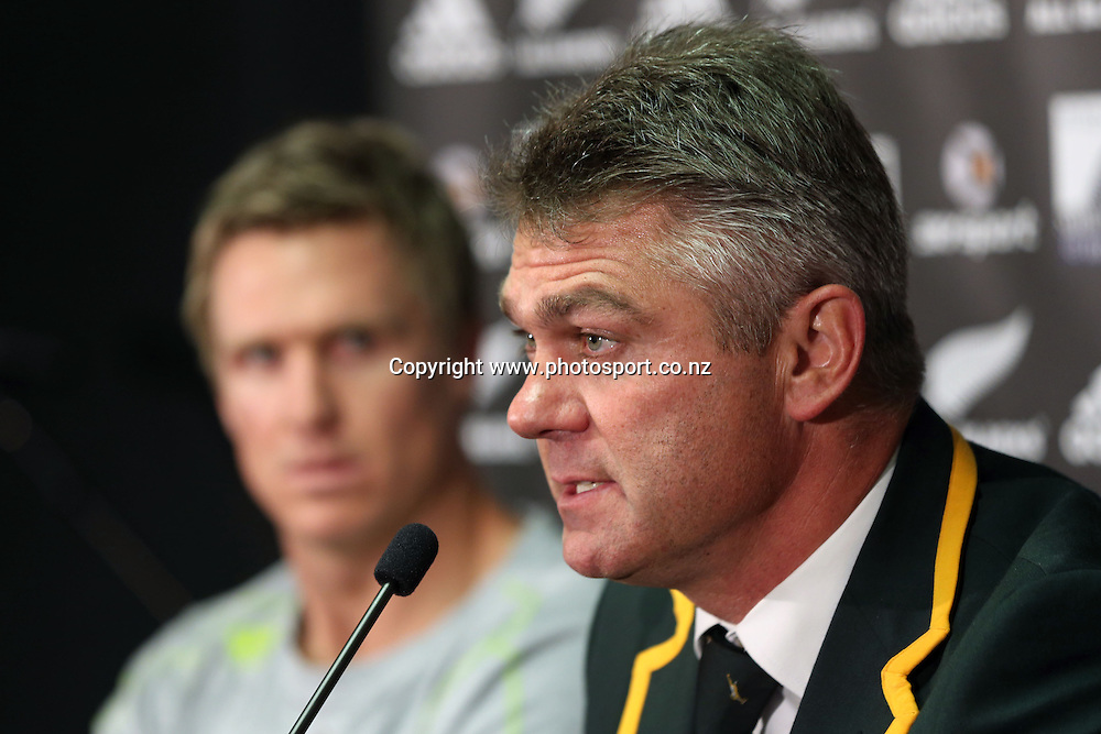SA coach Heyneke Meyer &  South African second five Jean de Villiers at the post match press confernce. The Rugby Championship, New Zealand All Blacks v South Africa Springboks. Test Match Rugby. Eden Park, Auckland. Saturday 21st September 2013. Photo: Jason Oxenham /photosport.co.nz