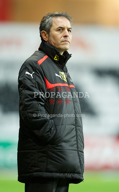 SWANSEA, WALES - Wednesday, February 6, 2013: Austria's head coach Marcel Koller during the International Friendly against Wales at the Liberty Stadium. (Pic by David Rawcliffe/Propaganda)