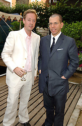 Left to right, editor of Tatler GEORDIE GRIEG and JONATHAN NEWHOUSE at the Tatler Summer Party in association with Moschino at Home House, 20 Portman Square, London W1 on 29th June 2005.<br />