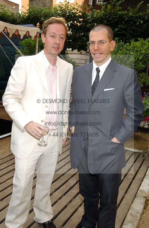 Left to right, editor of Tatler GEORDIE GRIEG and JONATHAN NEWHOUSE at the Tatler Summer Party in association with Moschino at Home House, 20 Portman Square, London W1 on 29th June 2005.<br /><br />NON EXCLUSIVE - WORLD RIGHTS