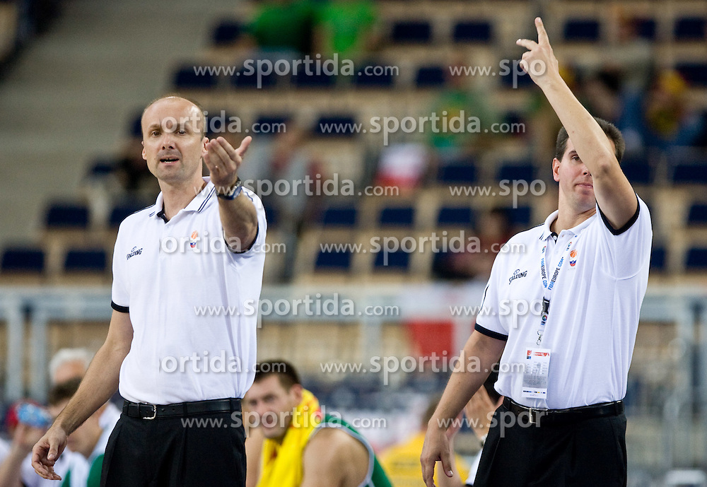 Head coach of Slovenia Jure Zdovc and Assistant coach of Slovenia Tomo Mahoric during the EuroBasket 2009 Group F match between Slovenia and Turkey, on September 16, 2009 in Arena Lodz, Hala Sportowa, Lodz, Poland.  (Photo by Vid Ponikvar / Sportida)