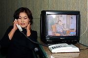 ULAN BATOR, MONGOLIA..08/22/2001.Bar tender at the bar of Chinggis Khaan Hotel..(Photo by Heimo Aga)