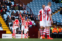 Stoke Forward Peter Crouch (ENG) celebrates scoring a goal - Photo mandatory by-line: Rogan Thomson/JMP - 07966 386802 - 23/03/2014 - SPORT - FOOTBALL - Villa Park, Birmingham - Aston Villa v Stoke City - Barclays Premier League.