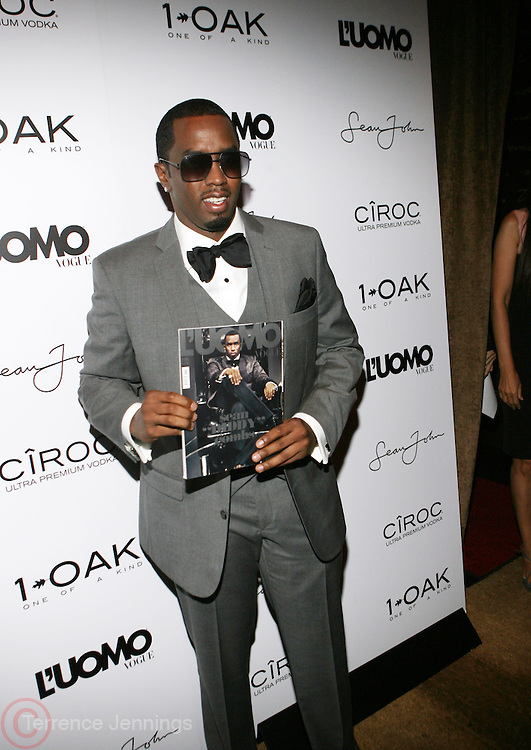 "Sean "" Diddy "" Combs pictured at the cocktail party celebrating Sean ""Diddy"" Combs appearance on the "" Black on Black "" cover of L'Uomo Vogue's October Music Issue"