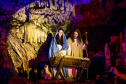 Actors perform as Virgin Mary and Joseph during the Living Nativity Scenes inside Postojna Cave, on December 21, 2017 in Postojna, Slovenia. Living Nativity Scene is staged along a 5 km long path through the world-famous Postojna Cave in Slovenia with some 200 people performing and working. Photo by Vid Ponikvar / Sportida