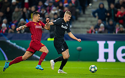 SALZBURG, AUSTRIA - Tuesday, December 10, 2019: Liverpool's Dejan Lovren (L) chases down FC Salzburg's Erling Braut Håland during the final UEFA Champions League Group E match between FC Salzburg and Liverpool FC at the Red Bull Arena. (Pic by David Rawcliffe/Propaganda)