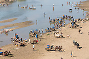People getting drinking water on the Mandrare river, Madagascar, Africa