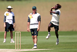 PRACTICE FOR THE FIRST TEST ..HEATH STREAK.Shenley Cricket Ground, Radlett, Hertfordshire. The Zimbabwe Cricket Team practice for the first test, May 16, 2000. Photo by Andrew Parsons / i-images..