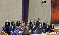 Nederland. Den Haag, 26 oktober 2010.<br /> De Tweede Kamer debatteert over de regeringsverklaring van het kabinet Rutte.<br /> Ministers en staatssecretarissen in vak K.<br /> Kabinet Rutte, regeringsverklaring, tweede kamer, politiek, democratie. regeerakkoord, gedoogsteun, minderheidskabinet, eerste kabinet Rutte, Rutte1, Rutte I, debat, parlement<br /> Foto Martijn Beekman