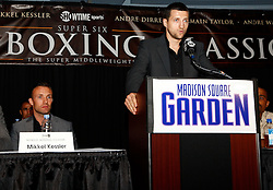 July 13, 2009; New York, NY, USA; Carl Froch speaks at the press conference announcing the Super Six World Boxing Classic Tournament at Madison Square Garden in New York City.  Abraham will open the tournament against American Jermain Taylor.