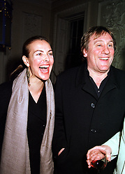 Actor GERARD DEPARDIEU and his close friend CAROLE BOUQUET, at a party in London on 2nd February 2000.OAR 28