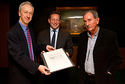 "© Licensed to London News Pictures. 22/05/2013. London, UK. Roly Keating, the chief executive of the British Library (L), Ed Vaizey, the British Minister for Culture (C) and Hunter Davies, an acclaimed Beatles Biographer, are seen with the lyrics for the Beatles song 'She Said She Said' (1966) at the British Library in London today (22/05/2013).  The manuscript, along with others and letters between John Lennon and Mr Davies, have been donated to the library under the ""lifetime giving"" scheme. Photo credit: Matt Cetti-Roberts/LNP"