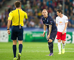 19.08.2014, Red Bull Arena, Salzburg, AUT, UEFA CL, FC Red Bull Salzburg vs Malmö FF, Play Off, Hinspiel, im Bild v.l.: Referee Nicola Rizzoli (ITA), Magnus Eriksson (Malmoe FF) // during the UEFA Championsleague 1st Leg, Play Off Match between FC Red Bull Salzburg and Malmoe FF at the Red Bull Arena in Salzburg, Austria on 2014/08/19. EXPA Pictures © 2014, PhotoCredit: EXPA/ JFK