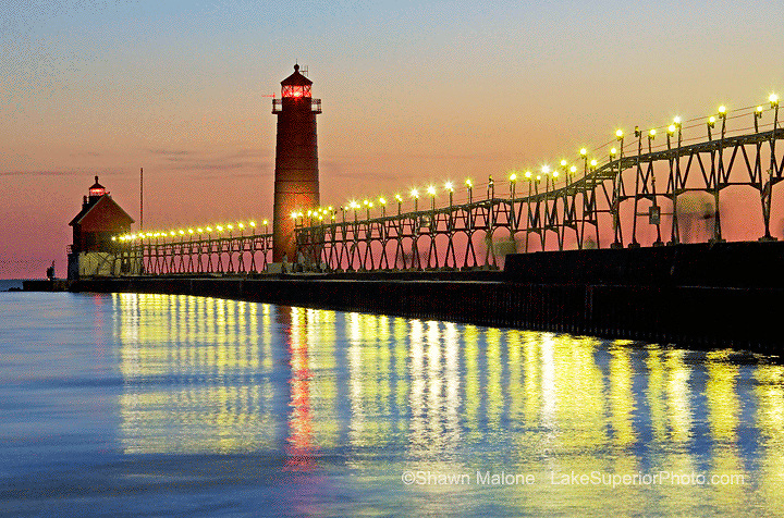 Grand Haven Lighthouse at dusk lighthouses in the Upper Peninsula of Michigan