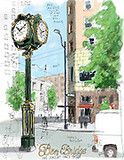 Ben Bridge clock at Pike and 4th Avenue in Seattle.<br />