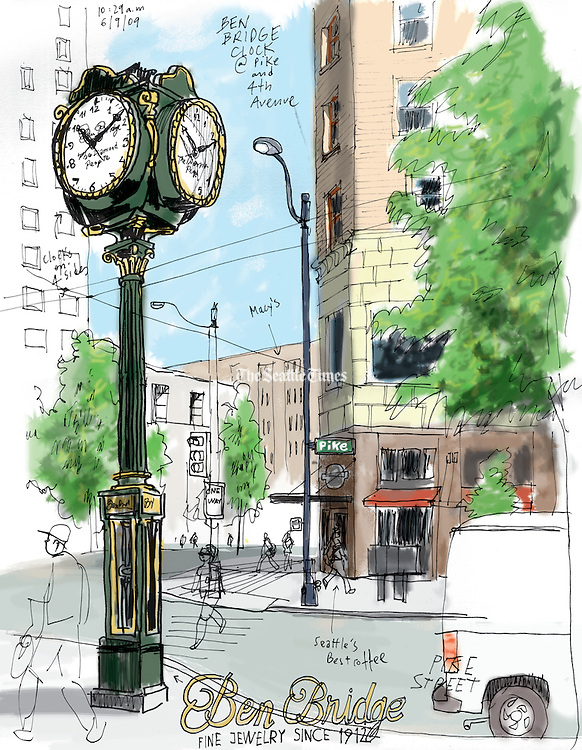 Ben Bridge clock at Pike and 4th Avenue in Seattle.<br /> Gabriel Campanario / The Seattle Times