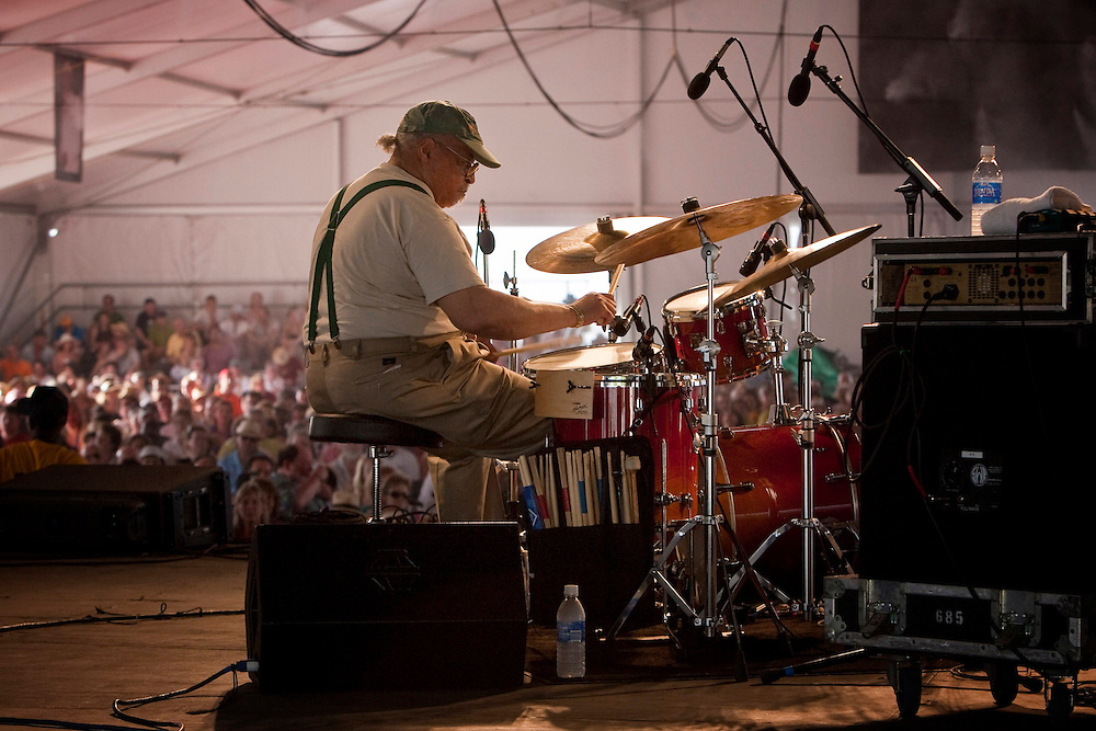 American Jazz drummer Jimmy Cobb performing on the WWOZ Jazz Tent stage at the New Orleans Jazz and Heritage Festival at the New Orleans Fair Grounds Race Course in New Orleans, Louisiana, USA, 1 May 2009.