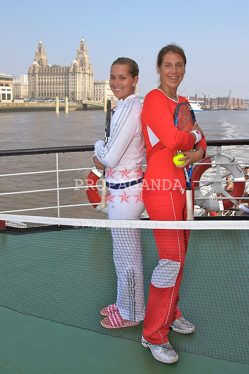 Liverpool, England - Sunday, June 10, 2007: Olga Savchuk (R) and Ashley Harkleroad (L) on the deck of the Royal Daffodil Mersey Ferry as they take a cruise along Liverpool's famous River Mersey. The WTA tennis players are in the city for the Liverpool International Tennis Tournament which starts on Tuesday June 12th. Ukranian Savchuk takes on Maria-Emilia Salerni on the opening day whilst American Harkleroad faces local qualifier Liz Thomas from Blackburn on day two, Wednesday June 13th. For more information please visit www.liverpooltennis.co.uk. (Pic by David Rawcliffe/Propaganda)