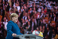 07 DEC 2018, HAMBURG/GERMANY:<br /> Angela Merkel, CDU, Bundeskanzlerin, haelt Ihre letzte Rede als Parteivorsitzende, CDU Bundesparteitag, Messe Hamburg<br /> IMAGE: 20181207-01-015<br /> KEYWORDS: party congress, speech