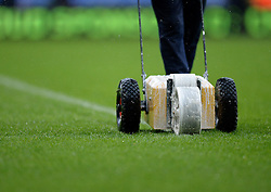 Groundsman make the final touches to the pitch prior to kick off. - Photo mandatory by-line: Alex James/JMP - Mobile: 07966 386802 - 23/11/2014 - Sport - Football - London -  - Crystal palace  v Liverpool - Barclays Premier League